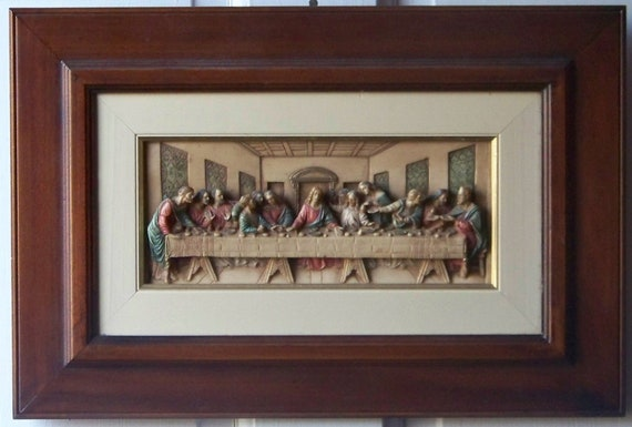 Vintage The Last Supper Framed Wall Hanging By