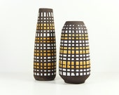 East German Vases Instant Collection Geometric Strehla Black Yellow White Spots