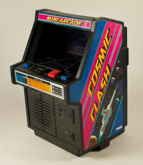 COSMIC CLASH Mini Arcade Game by TOMY, 1982, Outer Space Graphics