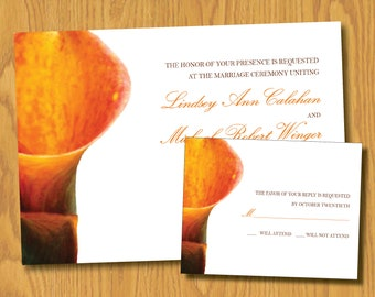 Custom Flower Wedding Invitation and Response Card