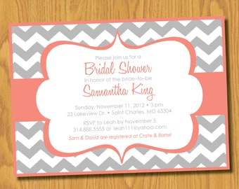 Bridal Shower Invitation - Chevron Stripes