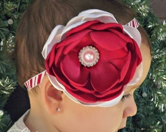 Candy Cane- Satin Handsinged Peony Flower in Red and White Color Blocking, on an Adorable Candy Striped Headband.