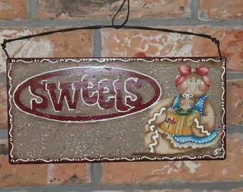 Gingerbread Sweets Kitchen Sign.....Metal...Ginger Collector....Kitchen Decor