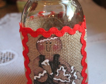 Gingerbread Burlap Jar Wrap... Candle Wrap......Ginger Lover...Country Decor....Gingerbread Kitchen..Country Kitchen..Housewarming Gift.