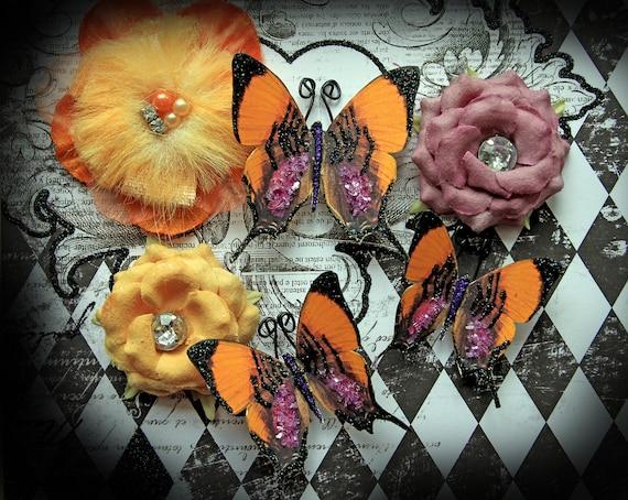 Reneabouquets Butterfly Set - Boo-tiful Halloween Glitter Glass Butterflies Scrapbook Embellishment, Wedding, Decoration, Home Decor