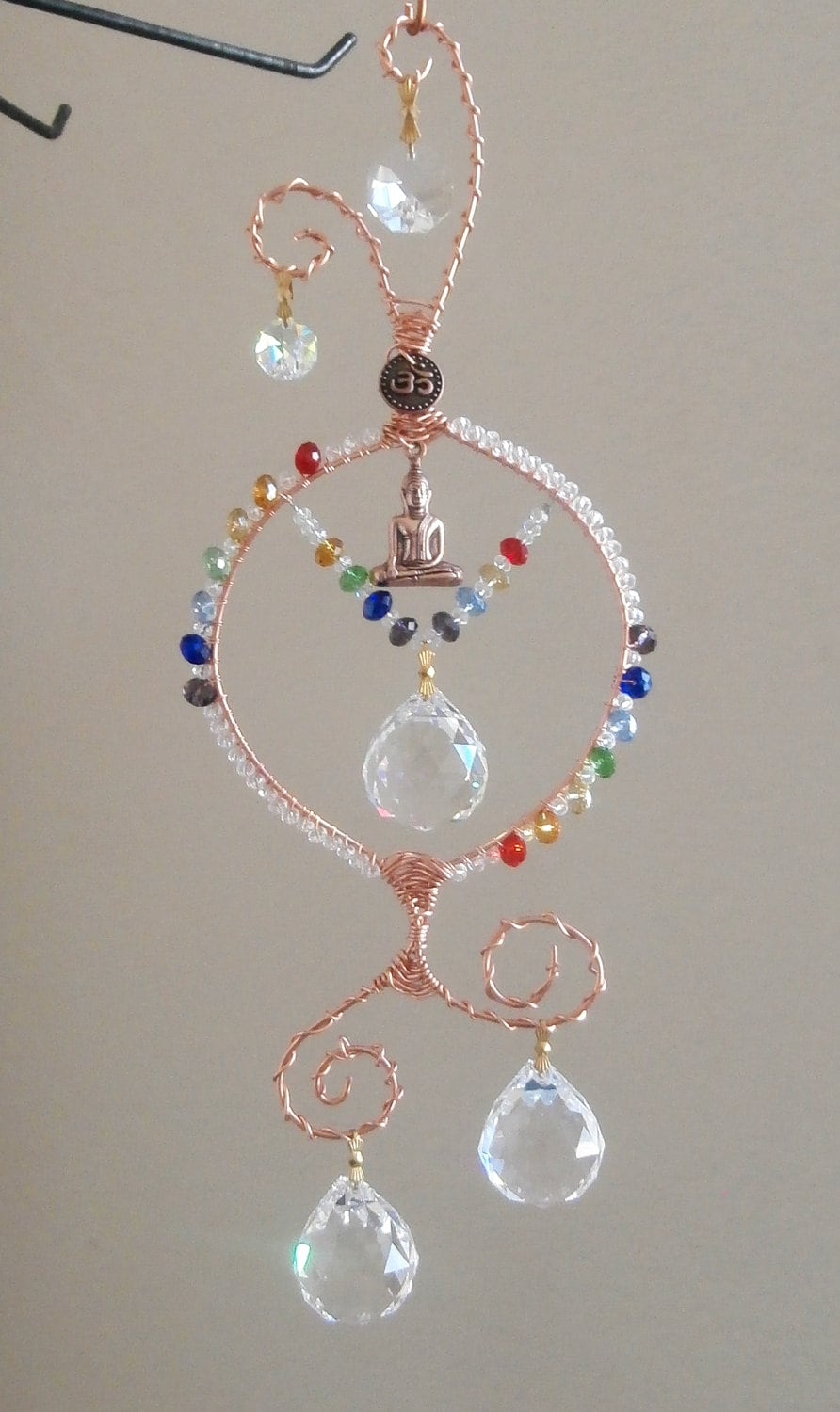Crystal Chakra Suncatcher With Buddha Ommade To Order Multi