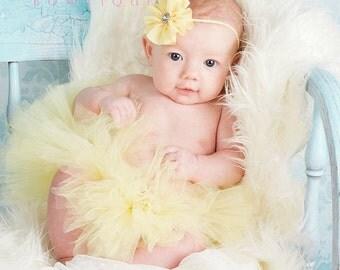 Yellow baby headband, infant headband, newborn headband - YELLOW shabby chiffon ruffle flower and rhinestone headband