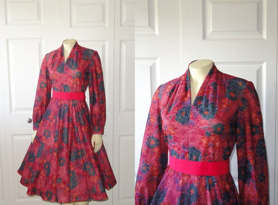 Vintage Dress 60s Rockabilly V Neck Dress Magenta Pink Teal Autumn Floral Modern size small to medium