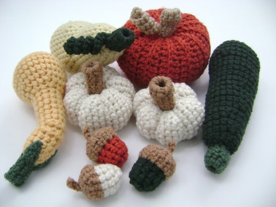 Crochet Pumpkin Acorn Squash Fall Thanksgiving Holiday Decoration Rustic Country Vegetables Toy Set of 9