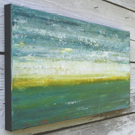 Abstract Seascape Painting - Evening on the Ocean (10x20)