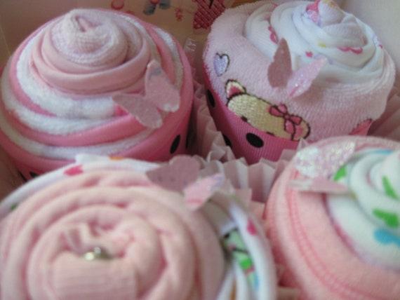 Baby Girl Onesies, Bibs, Burp Cloths and Washcloth Yummy 8 Piece Cupcake Set