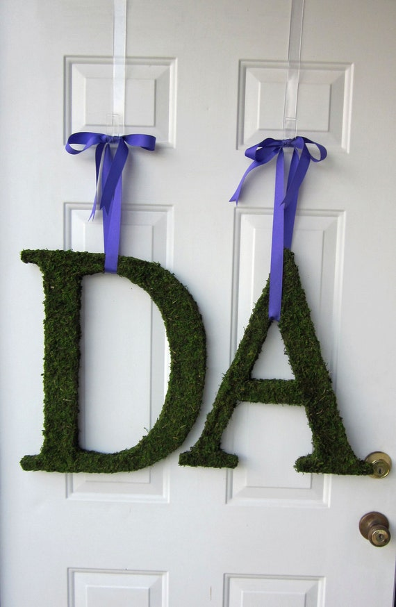 Moss Covered Letters - Moss Covered Monogram Wedding Letters - Set of TWO ( 8 inches )