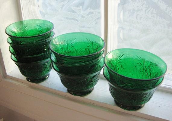 Forest Green Anchor Hocking Sandwich Glass Custard Cups, Set of 9