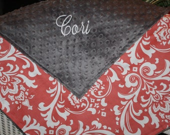 Coral Damask with Minky Blanket