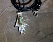 Sterling Silver Tufa Cast Necklace with Rare Cerrillos Turquoise - No. 2