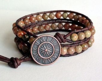 Autumn Jasper Double Wrap Leather Bracelet