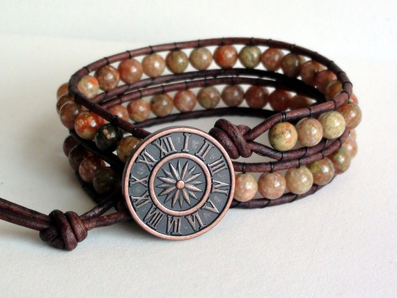 Autumn Jasper Double Wrap Leather Bracelet