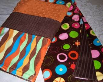 Brown, Burnt Orange, Green Outer Space Baby/Toddler Blanket