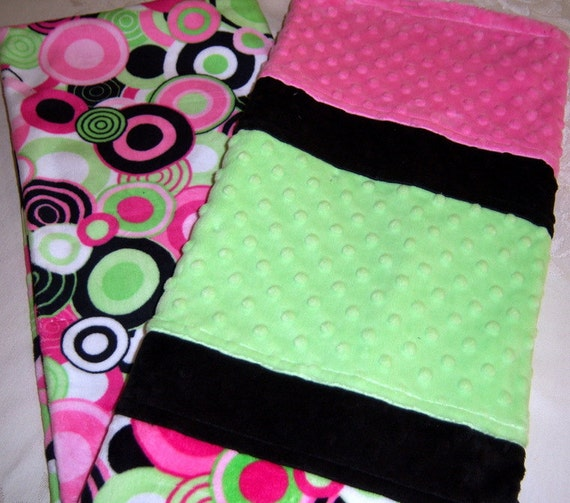 Pinks Minty Greens, Black & White Circles And Polka Dots Minky Baby/Toddler Blanket