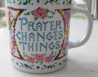 Vintage PRAYER CHANGES THINGS Faux-Embroidered Mug