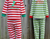 Boys/Girls Christmas Pajamas Jammies PJs Sleepwear w/ Holly, Present, Gift, Ornament, Stocking Embroidered Applique & Personalization Avail.