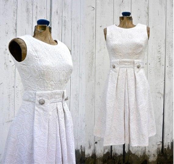 1960s dress / vintage party dress / 60s wedding / John Moore brocade dress