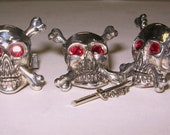 sterling silver skull and crossbone cufflink & tie tac set with ruby accents