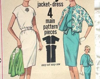 "Simplicity Dress Pattern No 4897 Vintage 1960s Size 14 Bust 34"" Jiffy Dress & Jacket Easy to Sew Back Zipper Short Kimono Sleeves"