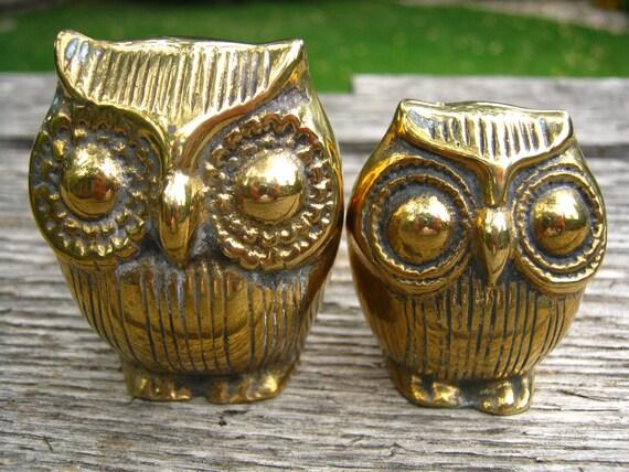 Brass Owl Figures - Pair of Brass Owl Figurines