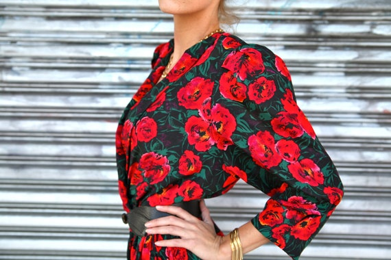 Vintage Abstract Red Flowers Deep V Dress