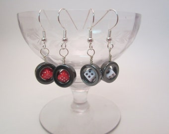 Dice in a Ring Earrings, Hematite and Bead, Silver
