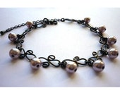 Gothic Black Chain Bracelet with Misty Rose Glass Pearls CLEARANCE