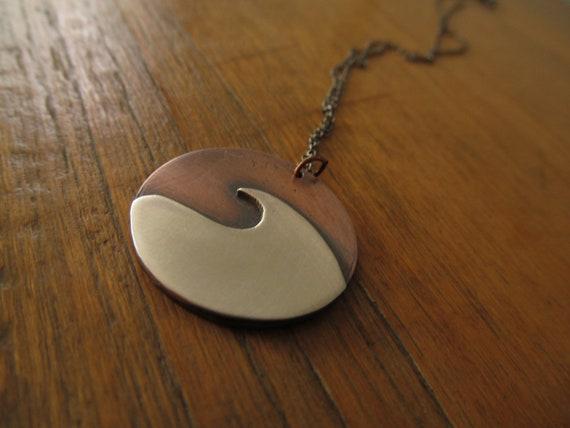 Mixed Metal Wave Pendant - Copper and Sterling Silver Necklace