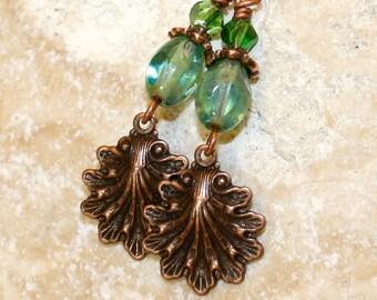 Blue green earrings, Sea shell earrings, Cottage chic, Copper sea shell earrings
