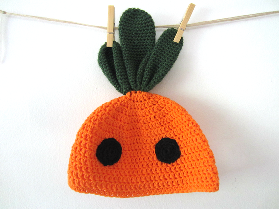 Cute Kawaii Carrot Vegetable Crochet Hat Beanie Cap, Ready to Ship