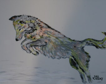 Original painting, wolf jumping upon a possible prey, in soft colors on paper, 12 x 18, acrylic painting