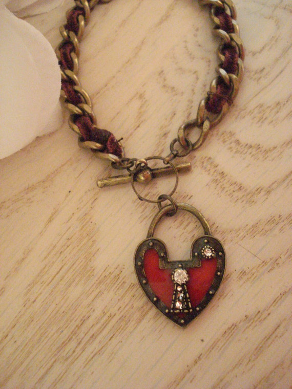 Lock and Heart Missing Key Red Burgundy Velvet Chain Charm  Bracelet