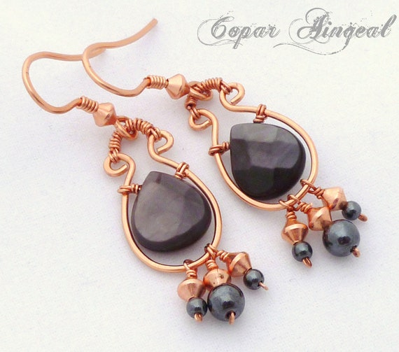 Grey Dangle Earrings - Mother of Pearl and Hematite on Copper