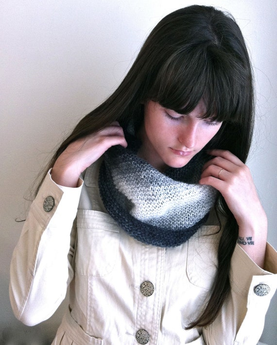 Smoky Knitted Cowl, Infinity Scarf. Lightweight Mohair Scarf, Black, White, Gray Fading Colors