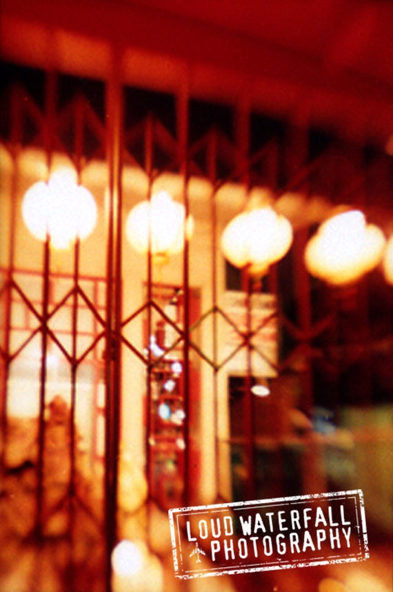 Downtown Los Angeles, Chinese Lanterns, Storefront, Chinatown at Midnight 8x12 Urban Photograph