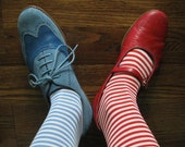 2 Pairs of Small Striped Vintage S-T-R-E-T-C-H Socks for your Little Elves, New Old Stock Sox NAVY & RED