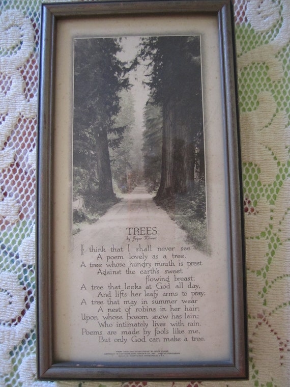 Tree Poem Framed Wall Hanging by Joyce Kilmer romantic cottage farmhouse