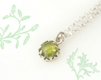 Peridot Necklace -  Personalized August Birthstone Sterling Silver Necklace  - Add an Initial