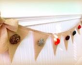 Rustic Burlap Garland, Roses, Brown, Pumpkin Orange,  Mustard Rosettes, Rustic, Fall Banner