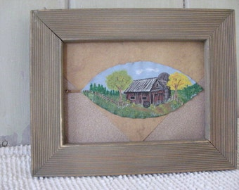 Painting Original Signed Barn Scene Real Magnolia Leaf Framed 9.5x7.5 Art Barn Wood Frame Home Decor