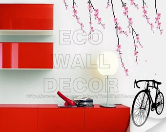 PEEL and STICK Removable Vinyl Wall Sticker Mural Decal Art - Bike and Japanese Sakura in the wind