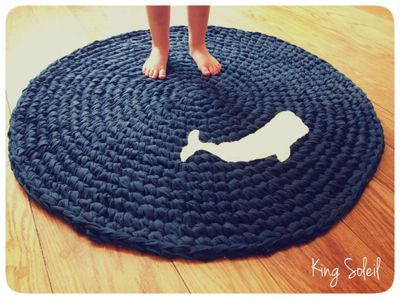 Crochet Whale Rug Nautical Navy Blue With White Applique Whale