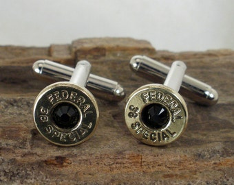Bullet Cufflinks - Two Toned - Black Jet - Federal 38 SPL