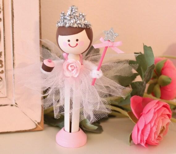 Wooden Clothespin Doll Ballerina Princess Birthday Cake Doll Topper