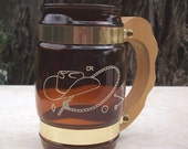 Siesta Ware Amber Glass Mug Western Theme  ~  Amber Glass, Brass and Wood Circa 1950's
